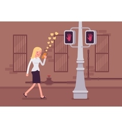Woman walks with smartphone vector