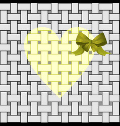 yellow heart with a green bow vector image vector image