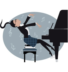 Young girl playing a piano vector