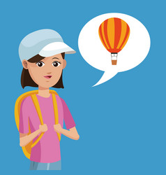 Young girl rucksack travel airballoon vector