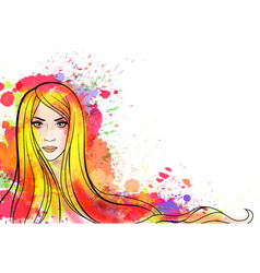 young woman portrait with colorful splashes vector image