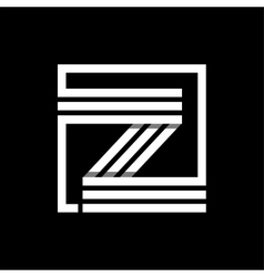 Z capital letter made of stripes enclosed in a vector