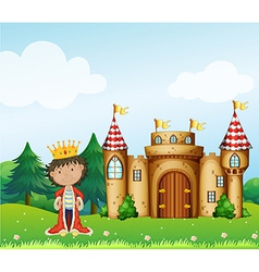 A king in front of his castle vector image vector image