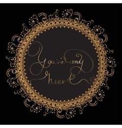 Circle card with golden lettering vector image vector image