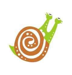 funny snail character crawling cute green mollusk vector image vector image