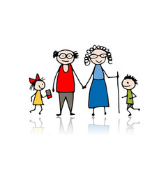 grandparents with grandchildren sketch for your vector image vector image