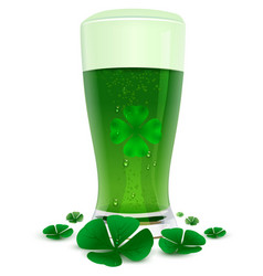 Green drink ale in high transparent glass green vector