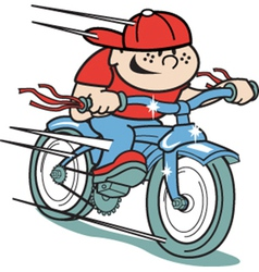 Boy on bike vector image