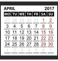 calendar sheet April 2017 vector image