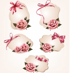 Collection of retro greeting cards with pink roses vector image