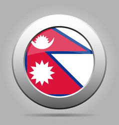 flag of nepal shiny metal gray round button vector image