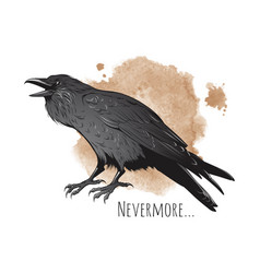 hand drawn raven on sepia background vector image vector image