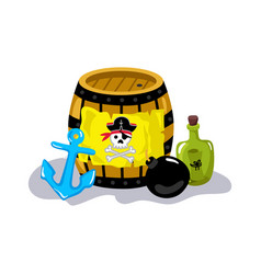 pirate sign on wooden barrel icon vector image vector image
