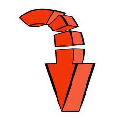 red down arrow icon icon cartoon vector image