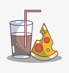 refreshment glass with slice of pizza food vector image vector image