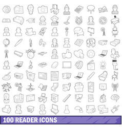 100 reader icons set outline style vector image