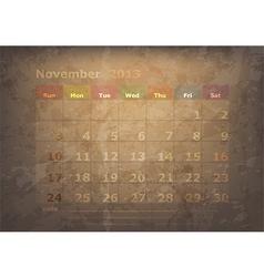 antique calendar of November vector image