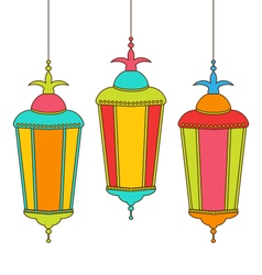 Colorful Arabic Lamps for Ramadan Kareem vector image vector image