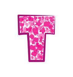 english pink letter t on a white background vector image vector image