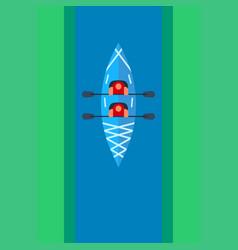 Flat kayak design with people sailing along the vector
