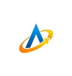 letter A circle arrow technology logo vector image vector image