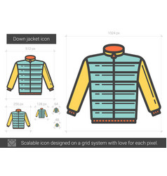 Down jacket line icon vector