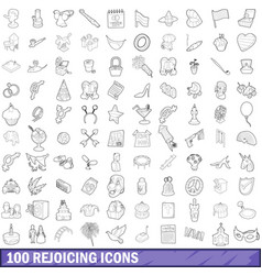 100 rejoicing icons set outline style vector image
