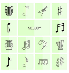 14 melody icons vector