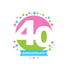 40th anniversary colored logo design happy vector image