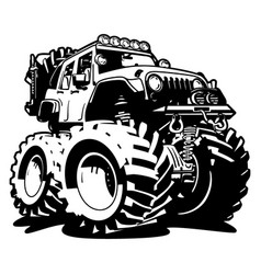 4x4 off road black and white cartoon vector image