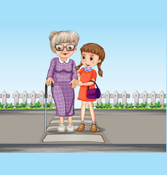 A girl helping grandmother crossing road vector