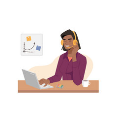 Afro american online customer service support vector