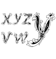 Alphabet letters decorated with flowers vector