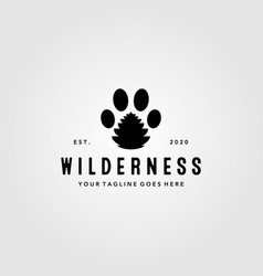 Animal footprint symbol with pine cone logo vector