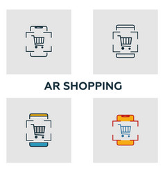 Augmented reality shopping icon set four elements vector