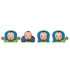 baby in car icon set boy or girl in the seat vector image