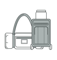 Baggage and big bag for traveling monochrome vector