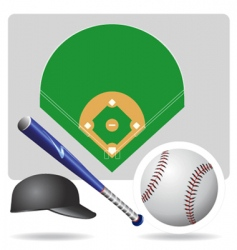 Baseball field ball and accessories vector