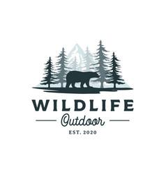 bear mountain and pine cedar conifer wilderness vector image