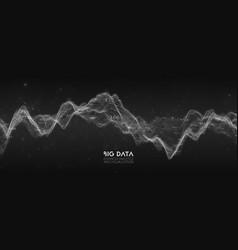 Big data bw wave visualization futuristic vector