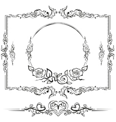 Black and white floral pattern Cartouche for vector
