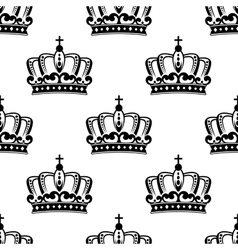 black and white royal crown seamless pattern vector image