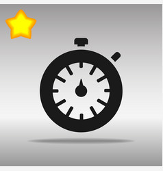black stopwatch timer icon button logo symbol vector image