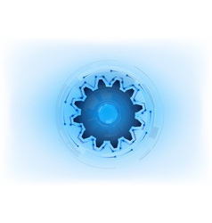 Blue cogwheel on the light background vector