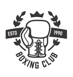 Boxing club emblem template glove design vector