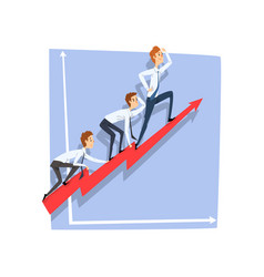 Business people climbing together on red arrow top vector