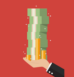 businessman hand holding cash money vector image