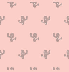 cactus succulent seamless pattern cute pink girl vector image