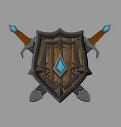 Cartoon black shield2 vector image
