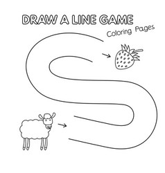cartoon sheep coloring book game for kids vector image